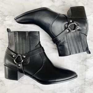 HALSTON Black Ankle Point Toe Boots Vegan Leather